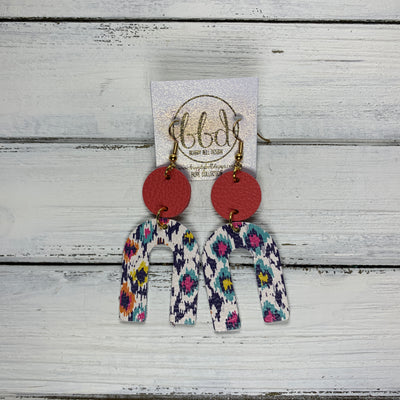 HOPE - Leather Earrings  ||  MATTE CORAL PINK, <BR> MULTICOLOR IKAT PRINT