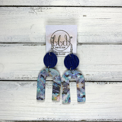 HOPE - Leather Earrings  ||  COBALT PALMS, <BR> ABALONE