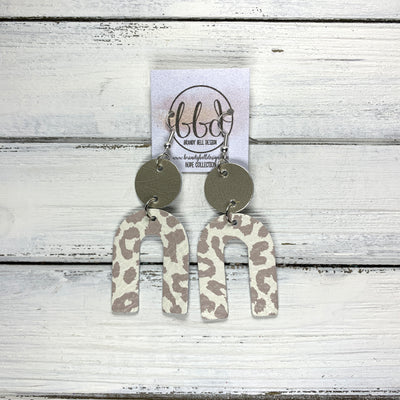HOPE - Leather Earrings  ||    METALLIC CHAMPAGNE SMOOTH, <BR> NUDE LEOPARD