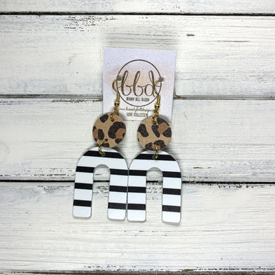 HOPE - Leather Earrings  ||  CARAMEL CHEETAH, <BR> BLACK & WHITE STRIPES