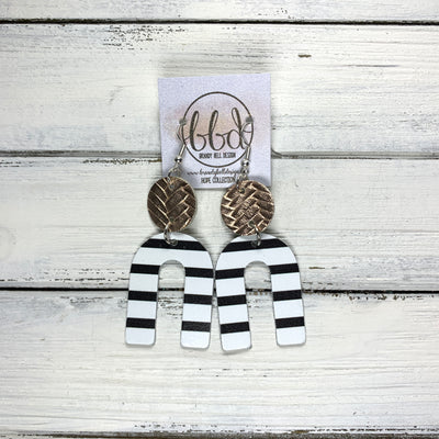 HOPE - Leather Earrings  ||  METALLIC ROSE GOLD BRAIDED, <BR> BLACK & WHITE STRIPES