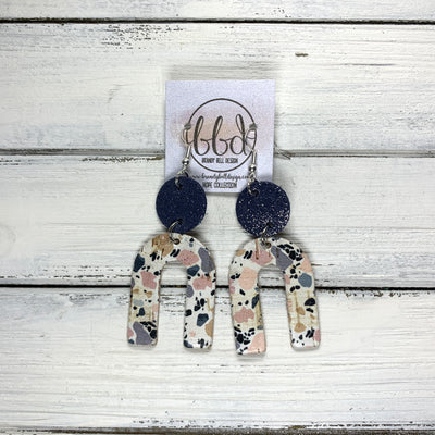 HOPE - Leather Earrings  ||  SHIMMER NAVY, <BR> GRANITE MOSIAC CORK ON LEATHER