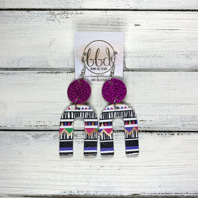 HOPE - Leather Earrings  || METALLIC NEON PINK, <BR> PINK & PURPLE GEOMETRIC PRINT