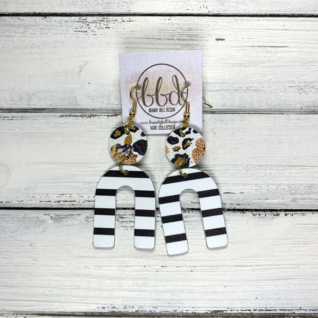 HOPE - Leather Earrings  ||CORAL FLORAL CHEETAH, <BR> BLACK & WHITE STRIPE