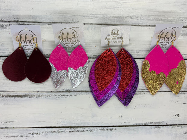 "(MINI) MAISY - Leather Earrings  ||<BR>  ""DIPPED"" COLLECTION - OOAK (one of a kind) <BR> NEON PINK <BR> SILVER FOIL (BB1129)"