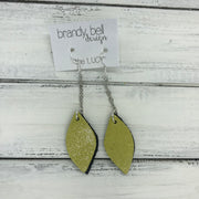 LUCY -  Leather Earrings  ||   DOUBLE SIDED <BR>  SHIMMER YELLOW <BR> BLACK & WHITE MERMAID