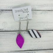 LUCY -  Leather Earrings  ||   DOUBLE SIDED <BR>  METALLIC NEON PINK  <BR> BLACK & WHITE STRIPES