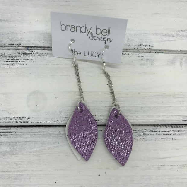 LUCY -  Leather Earrings  ||   DOUBLE SIDED <BR> FAIRY DUST GLITTER (FAUX LEATHER)  <BR> SHIMMER LAVENDER