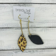 LUCY -  Leather Earrings  ||   DOUBLE SIDED <BR> METALLIC CHEETAH  <BR> MATTE BLACK