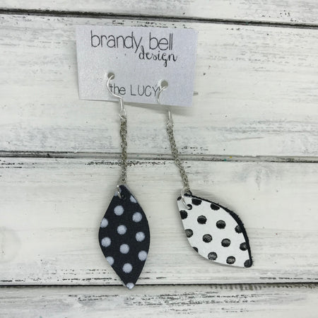 LUCY -  Leather Earrings  ||   DOUBLE SIDED <BR> BLACK WITH WHITE POLKADOTS <BR> WHITE WITH BLACK POLKADOTS