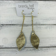 LUCY -  Leather Earrings  ||   DOUBLE SIDED <BR> WHITE WITH METALLIC GOLD ACCENTS <BR> METALLIC GOLD SMOOTH