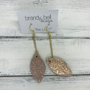 LUCY -  Leather Earrings  ||   DOUBLE SIDED <BR> METALLIC ROSE GOLD FLORAL <BR> SHIMMER VINTAGE PINK