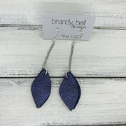 LUCY -  Leather Earrings  ||   DOUBLE SIDED <BR> SHIMMER NAVY <BR> METALLIC NAVY PEBBLED