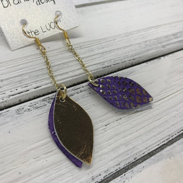 LUCY -  Leather Earrings  ||   DOUBLE SIDED <BR>   METALLIC GOLD SMOOTH <BR> PURPLE WITH METALLIC GOLD ACCENTS