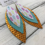 INDIA - Leather Earrings   ||  <BR>   POPSICLES (FAUX LEATHER)  <BR>  ROBINS EGG BLUE <BR> METALLIC ORANGE COBRA