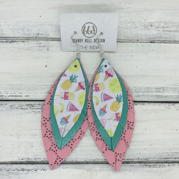 INDIA - Leather Earrings   ||  <BR>   TUTTI FRUITTI (FAUX LEATHER)  <BR>  PEARLKIZED AQUA <BR> PERFORATED PINK