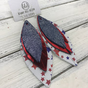 INDIA - Leather Earrings   ||  <BR>   SHIMMER NAVY  <BR> METALLIC RED SMOOTH <BR> AMERICANA STARS