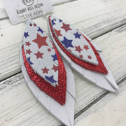 INDIA - Leather Earrings   ||  <BR>  AMERICANA STARS  <BR> METALLIC RED PEBBLED <BR> MATTE WHITE