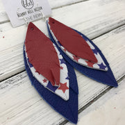 INDIA - Leather Earrings   ||  <BR>  MATTE RED <BR> AMERICANA STARS <BR> MATTE BLUE