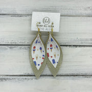 ALLIE -  Leather Earrings  || <BR> AMERICAN TREATS (FAUX LEATHER)<BR> SHIMMER GOLD
