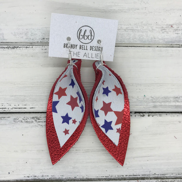 ALLIE -  Leather Earrings  || <BR> AMERICANA STARS <BR> METALLIC RED PEBBLED