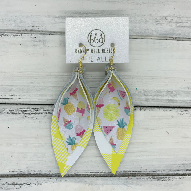 ALLIE -  Leather Earrings  || <BR> TUTTI FRUITTI (FAUX LEATHER) <BR> YELLOW & WHITE PLAID