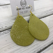 ZOEY (3 sizes available!) -  Leather Earrings  ||  SHIMMER YELLOW