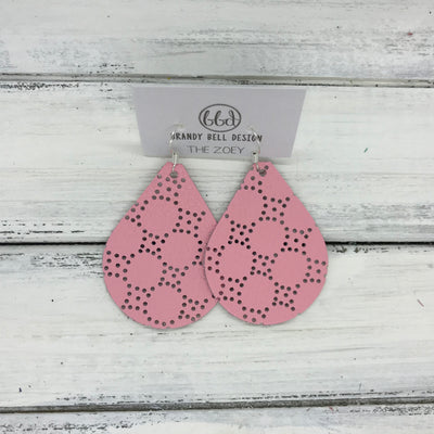 ZOEY (3 sizes available!) -  Leather Earrings  ||  PERFORATED PINK