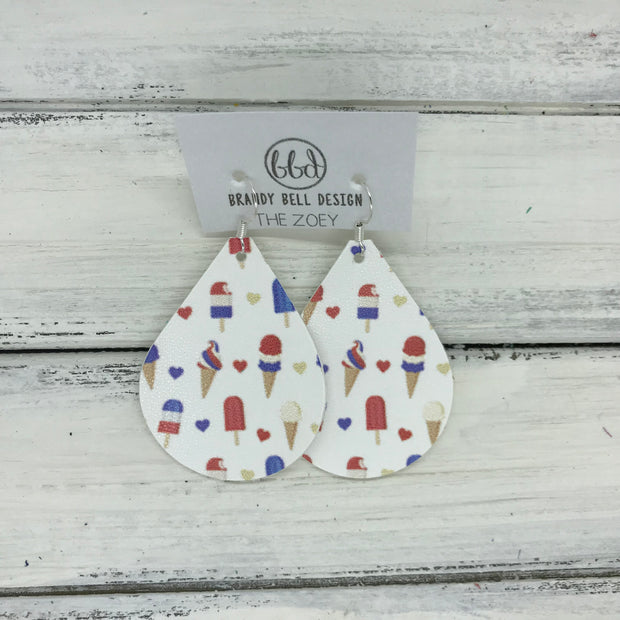 ZOEY (3 sizes available!) -  Leather Earrings  ||  AMERICA TREATS (FAUX LEATHER)