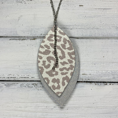 CHELSEA - Double-Sided Leather Necklace  ||  <BR> NUDE LEOPARD, <BR> SHIMMER ROSE GOLD