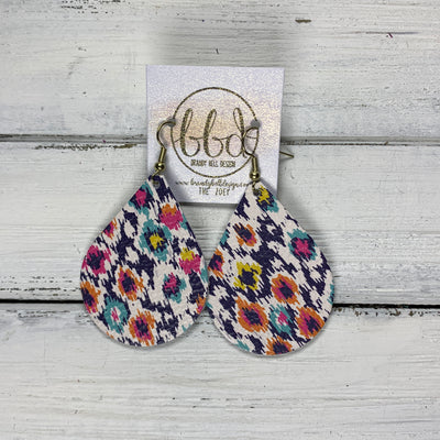 ZOEY (3 sizes available!) -  Leather Earrings  ||   MULTICOLOR IKAT PRINT