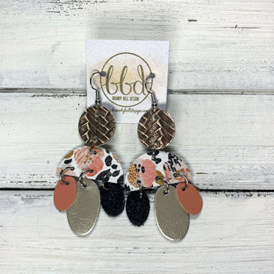 LYLA -  Leather Earrings  ||   <BR> ROSE GOLD BRAID,  CORAL FLORAL CHEETAH, <BR> SHIMMER BLACK, METALLIC CHAMPAGNE, MATTE CORAL