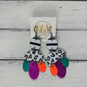 LYLA -  Leather Earrings  ||   <BR> BLACK & WHITE STRIPE,  PASTEL CHEETAH, <BR> NEON ORANGE, METALLIC NEON PINK, PEARLIZED AQUA