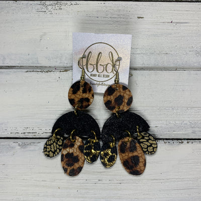 LYLA -  Leather Earrings  ||   <BR> CHEETAH PRINT,  SHIMMER BLACK, <BR> BLACK / GOLD ACCENTS, CHEETAH, GOLD MINI CHEETAH