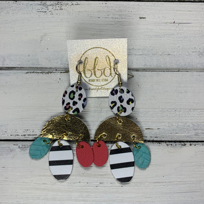 LYLA -  Leather Earrings  ||   <BR> PASTEL LEOPARD,  METALLIC GOLD SMOOTH, <BR> MATTE CORAL/PINK, BLACK & WHITE STRIPE, AQUA BRAIDED