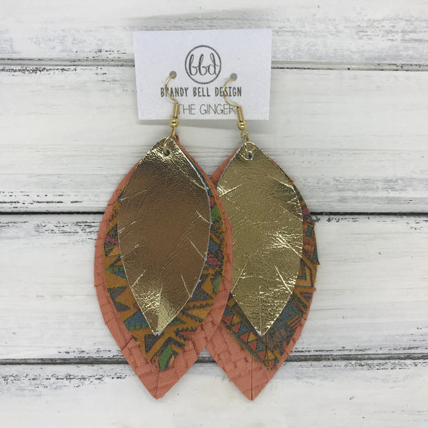 GINGER - Leather Earrings  ||  <BR>  METALLIC GOLD <BR> NAVAJO <BR> SALMON WEAVE