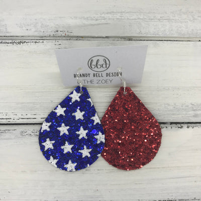 ZOEY (3 sizes available!) -  GLITTER ON CANVAS Earrings  (not leather)  ||  <BR> BLUE WITH STARS & RED (MIXED MATCH)