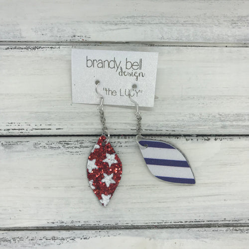 LUCY -  Leather Earrings  ||   DOUBLE SIDED <BR>   RED STARS GLITTER (FAUX LEATHER) <BR> WHITE & BLUE STRIPE