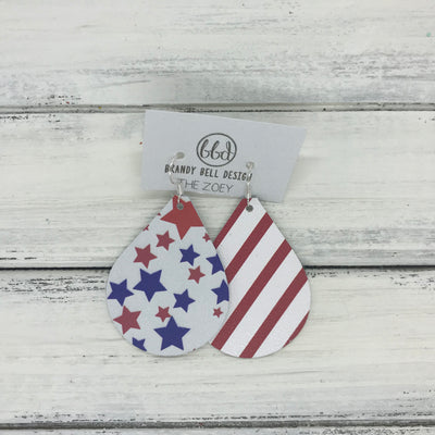 ZOEY (3 sizes available!) -  Leather Earrings  ||  <BR> AMERICANA STARS <BR> WHITE WITH RED STRIPE