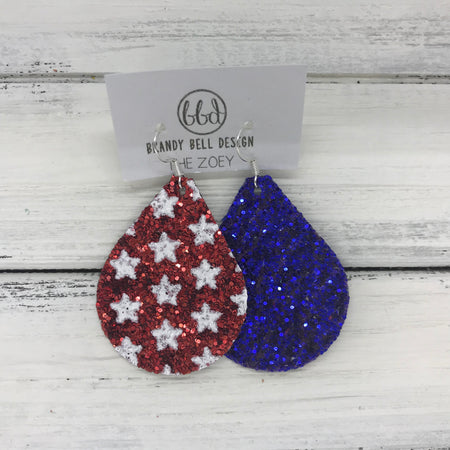 miniZOEY + ZOEY -  GLITTER ON CANVAS Earrings  (not leather)  ||  <BR> RED WITH STARS & ROYAL BLUE (MIXED MATCH)