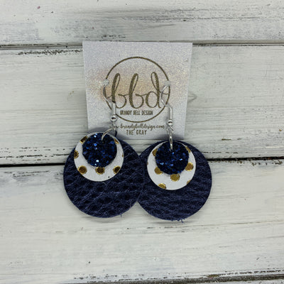 GRAY - Leather Earrings  ||    <BR> NAVY GLITTER (NOT REAL LEATHER), <BR> WHITE WITH GOLD POLKADOTS,  <BR> METALLIC NAVY PEBBLED