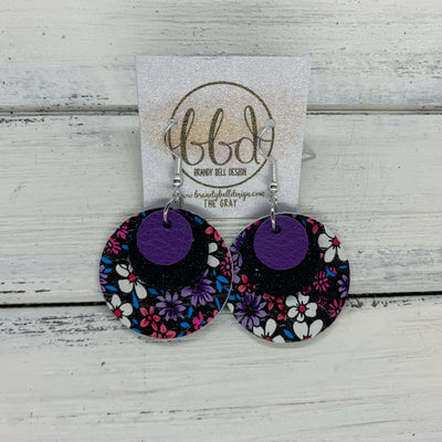 GRAY - Leather Earrings  ||    <BR> MATTE PURPLE, <BR> SHIMMER BLACK,  <BR> PURPLE & PINK MINI FLORAL