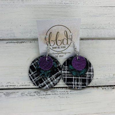 GRAY - Leather Earrings  ||    <BR>METALLIC PURPLE PEBBLED, <BR> TEAL NORTHERN LIGHTS,  <BR> BLAKC & WHITE PLAID