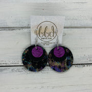 GRAY - Leather Earrings  ||    <BR> PURPLE BRAIDED, <BR> BLACK WITH GLOSS DOTS,  <BR> IRIDESCENT NORTHERN LIGHTS