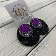 GRAY - Leather Earrings  ||    <BR> FINE PURPLE GLITTER (FAUX LEATHER), <BR> PEWTER GLITTER (FAUX LEATHER),  <BR> FINE BLACK GLITTER (FAUX LEATHER)