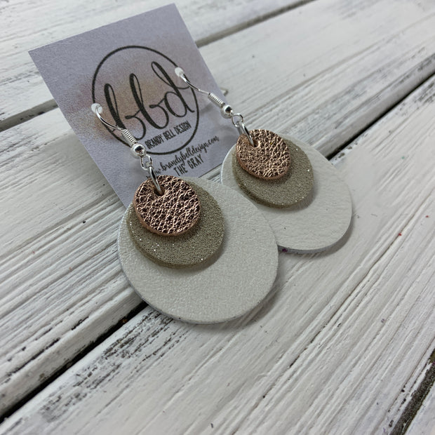GRAY - Leather Earrings  ||    <BR> METALLIC ROSE GOLD PEBBLED, <BR> SHIMMER CHAMPAGNE,  <BR> PEARL WHITE
