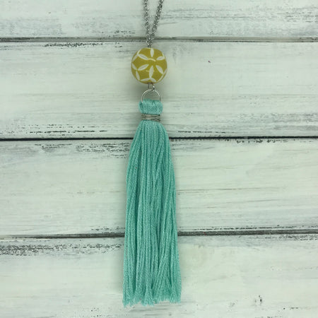 TASSEL NECKLACE - CAROLINA   OOAK (One of a Kind)   ||   AQUA TASSEL WITH YELLOW & WHITE BEAD