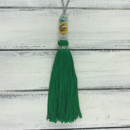 TASSEL NECKLACE - CAROLINA   OOAK (One of a Kind)   ||   GREEN TASSEL WITH YELLOW PINEAPPLE BEAD