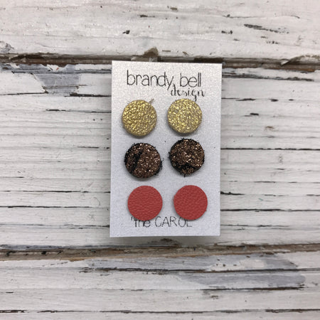 CAROL (3/PACK) - Leather Stud Earrings   || METALLIC GOLD TEXTURE, METALLIC COPPER CRACKLE, MATTE SALMON