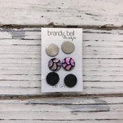 CAROL (3/PACK) - Leather Stud Earrings   ||  METALLIC CHAMPAGNE, METALLIC ANTIQUE MERMAID, SHIMMER BLACK